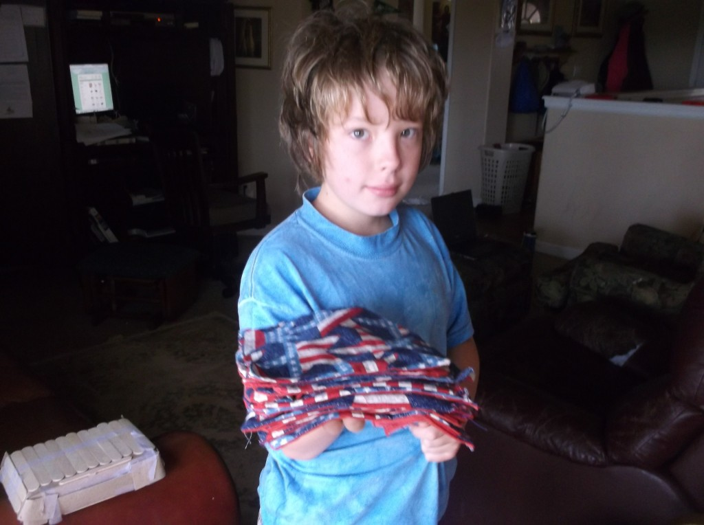 Jared, 11, loved sewing so much that he made napkins.